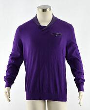 TED BAKER Men's Purple Wool Shawl Collar Henley Sweater Jumper ~ Sz 4 M NEW