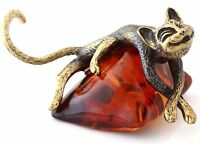 """Cat on Pillow Brass Bronze Figurine Sculpture Russian Baltic Amber Souvenir 2"""""""