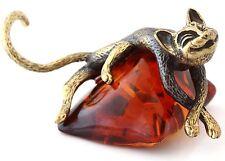 """Cat on Pillow Brass Figurine Animal Sculpture Russian Baltic Amber Souvenir 2"""""""