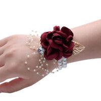 Flower Wrist Corsage Pearl Bead Bracelet Wedding Prom Party Bridesmaid Decorate