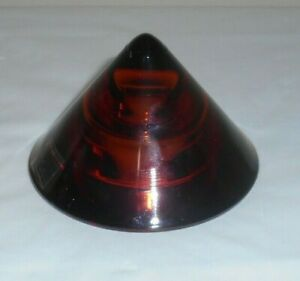 """ZODAX Portugal Pyramid Cone Shaped Amber Art Glass LED Candle Tent  3.5""""d 2.25""""t"""