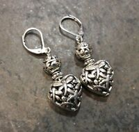 Silver Filigree Puffed Heart Earrings with Dragonfly detail Sterling leverbacks