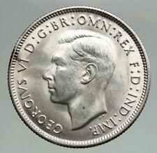 1942S AUSTRALIA Large King George VI Kangaroos VINTAGE Silver Florin Coin i92149