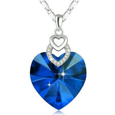 Dainty 3 Hearts Silver blue Crystals Pendant Necklace Jewelry Mother's Day Gift