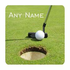 PERSONALISED GOLF PUTTER & BALL PRINT 9CM X 9CM SQUARE MDF COASTER