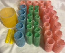 37 Lot Hook Loop Brush Hair Rollers Curlers Pink Green Blue Yellow 5 Sizes