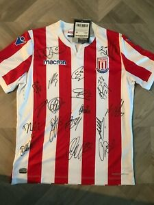"""BNWT STOKE CITY HOME SHIRT SIGNED BY 18 - """"PROOF"""""""