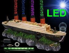 1A Aquarium Deko 🍀 TITANIC ➕ LED ➕ LUFTPUMPE 🍀➕ Zubehör Schiffswrack Luftstein