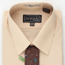 Solid Tan with Skinny Brown Paisley Tie New Old Stock Dress Shirts by Marquis