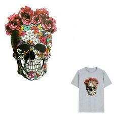 Rose Skull Iron on Stickers DIY Heat Transfer Patches For T-shirt Applique new.