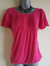 Size 10 Top SAVOIR Pink Casual Stretch Women's Fitted Pleated