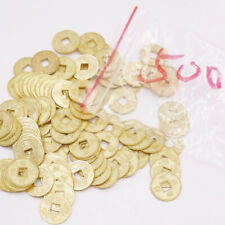 500PCS Mini 14mm Feng shui Golden Coin Charms Crafts Pendant Metal Feng Shui