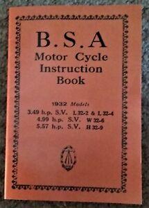 BSA Sloper Instruction Book 1932 3.49 hp SV 3.49 SV L32-2 & L32-4 H32   W32-6