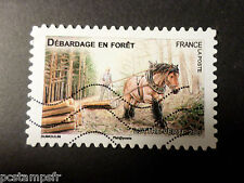 FRANCE 2013, timbre AUTOADHESIF 824 CHEVAL DEBARDAGE FORET, oblitéré STAMP HORSE