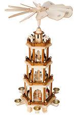 "BRUBAKER Wooden Christmas Pyramid 60cm (23.6"") Windmill Carousel German Style"