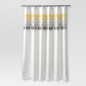 "THRESHOLD 100% Cotton Medallion Shower Curtain Ombré | Cream | 72""x72"" 