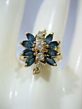 ESTATE VINTAGE DIAMOND LONDON BLUE TOPAZ IJS COCKTAIL RING SIZE 6