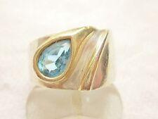 "sr04 - "" Modernist ""- Design - Sterling Silver &  Swiss Blue Topaz - Ring - 6.5+"