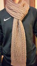 LONGUE ECHARPE TRICOT MAIN HOMME  laine et alpaga couleur marron glacé