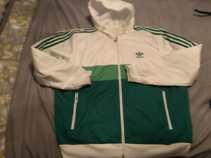 LARGE ADIDAS GREEN AND WHITE HOODED JACKET…CASUAL