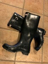 HUNTER ORIGINAL NAVY BLUE GLOSS RUBBER WELLIES TALL RAIN BOOTS PULL ON 8.5 9 M