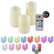3 Stück Kunststoff Kerzen mit Farbwechsel mit Fernbedienung LED Valentinstag