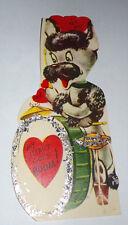 Vtg 1950s Poodle Rock & Roll Drummer Drums glitter Children's Valentine's Card