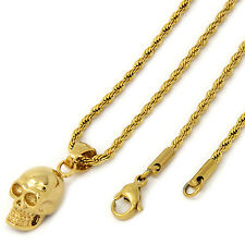 """Women's Gold Tone Stainless Steel Mini Skull Pendant 2mm 20"""" Rope Necklace Chain"""