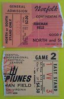 1968 NORFOLK NEPTUNES Foreman Field Vintage football Ticket Stub LOT set cfl nfl
