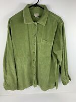 LL Bean Wide Wale Comfort Corduroy Big Shirt Green Women's Size Large