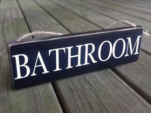 BATHROOM Handmade Rustic Primitive Country Farmhouse Hanging Door Wood Sign