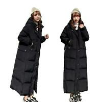 Womens Long Cotton Down Coat Hooded Padded Quilted Winter Outwear Warm Thicken L