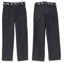 NWT GYMBOREE Boys Uniform Belted Navy Dress Chino Pants 7Slim Wrinkle Adjustable