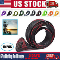US 10PCS 170CM Fishing Rod Covers Mesh Fish Sleeves Socks Tubes Protector Pole