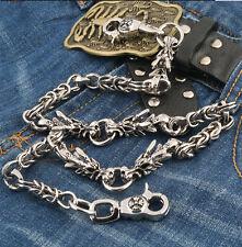 Double Dragon Head Trucker Rocker Biker Keychain Key Jean Wallet Chain NCS84