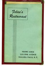 1940s Menu Felice's Restaurant Niagara Falls NY