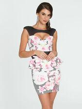 Arden B Keyhole Floral Printed Dress Black Pink Medium M