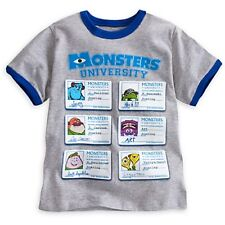 DISNEY STORE MU BOYS RINGER TEE SIZE 4 NWT STUDENT ID SULLEY MIKE ART SQUISHY ++