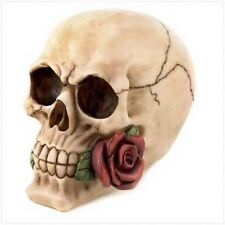 GRINNING SKULL - TANGO ROSE Halloween Decoration Figurine Sculpture Prop