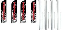 Tattoos Windless Flag With Complete Hybrid Pole set- 4 pack