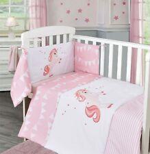 Unicorn Baby Pink Girl Nursery Bedding Bale Stars Quilt Bumper Sheet Set Cot Bed