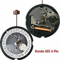 Swiss Ronda 505 3-Pin Watch Quartz Movement Date At 3'/6' with 371 Battery &Stem