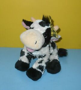 "2006 Princess Soft Toys 10"" B&W Cow with Horns & Yellow Bow Bean Plush Cutie"