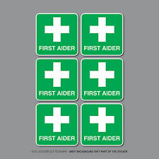 SKU2472 - 6 x 50mm FIRST AIDER Self Adhesive Stickers Safety Signs