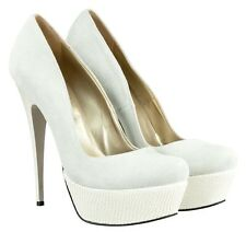 MORI ITALY PLATFORM SEXY HIGH HEELS PUMPS SCHUHE SHOES LEATHER WHITE BIANCO 42