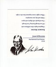 JOHN WOODEN HAND SIGNED BUSINESS CARD+COA   GREAT UCLA COACH  PYRAMID OF SUCCESS