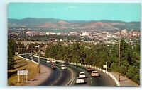 Entering Spokane Washington WA on Sunset Highway 395 Vintage Postcard E34