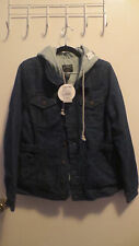 Zumiez Stussy denim hooded jacket with lining blue and gray