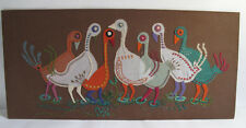 Vintage Hand Embroidered Panel Picture Retro Applique Silly Birds Turkeys