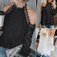 ZANZEA Womens Off Shoulder Lace Patchwork Blouse Casual Loose Summer Tops Shirts